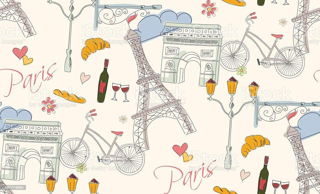 Symboles de Paris et les cartes postales, motif sans couture dessinés à la main - Illustration vectorielle