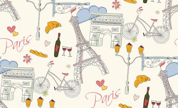 パリのシンボル、はがき、シームレスなパターン、手描き - フランス料理点のイラスト素材/クリップアート素材/マンガ素材/アイコン素材