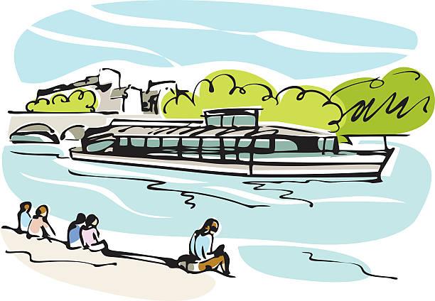 Paris tourist ship, Bateau-Mouche Drawing of a tourist ship. With XXXL Jpg. seine river stock illustrations