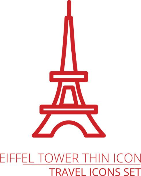 Paris Tower icon thin line for web and mobile, modern minimalistic flat design. Vector dark grey icon on light grey background. Paris Tower icon thin line for web and mobile, modern minimalistic flat design. Part of travel icons set pacific dogwood stock illustrations