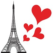 Paris town in France love heart, eiffel tower vector valentines day illustration