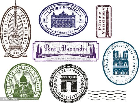 Paris Travel Rubber Stamps Stock Vector Art Amp More Images