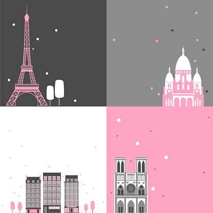 Paris vector backgrounds set