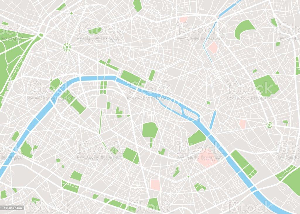 Paris vector city map vector art illustration