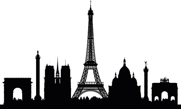 Paris (Buildings Are Detailed, Moveable and Complete) Paris skyline. paris black and white stock illustrations