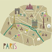 Paris map showing the city centre with the River Seine running through the arondissements showing the Eiffel Tower Arc de Triomphe, Notre Dame and Sacre Couer landmarks in CMYK