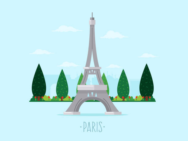 paris Background with Eiffel Tower and trees. Flat design style. eiffel tower stock illustrations