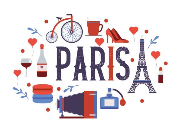ilustraciones, imágenes clip art, dibujos animados e iconos de stock de parís vector patrón de la cultura francesa torre eiffel y la ilustración triunfal de europa turismo ciudad viajando en francia telón de fondo de queso de estilo parisino croissant - comida francesa