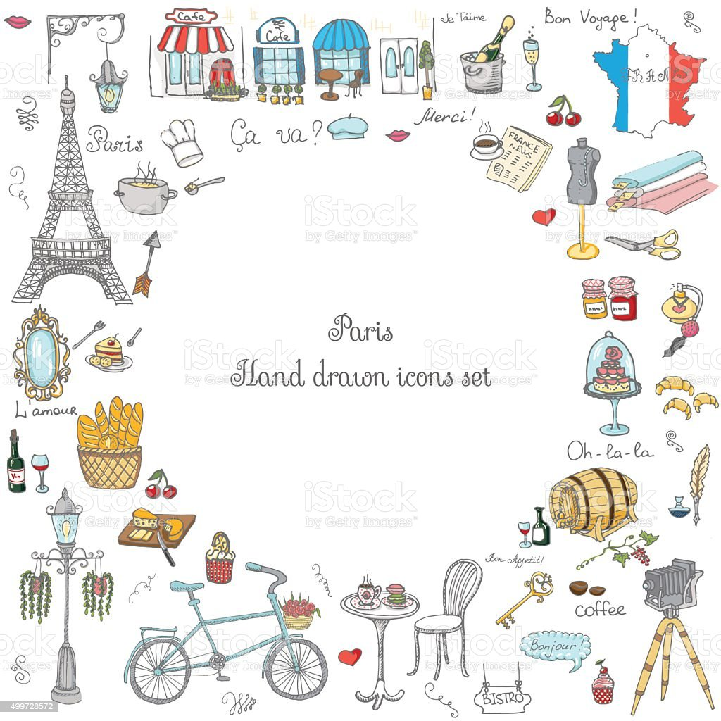 Paris_set vector art illustration