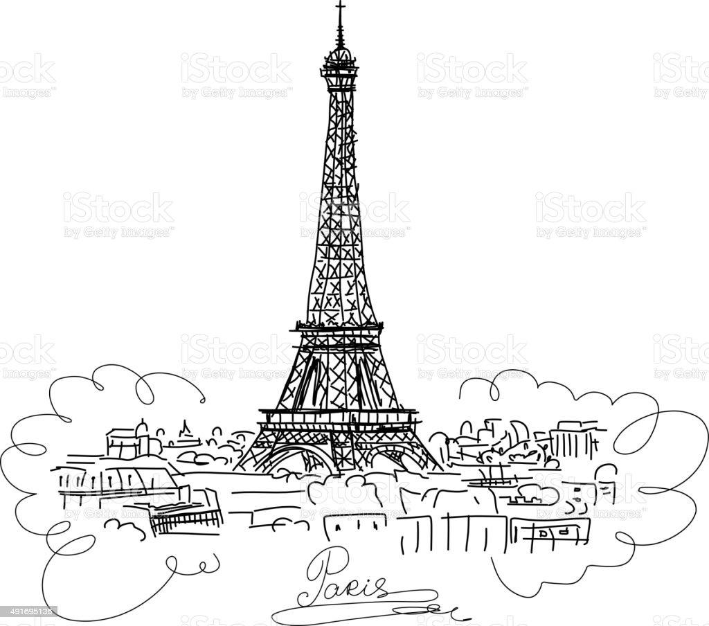 Paris,cityscape with Eifel Tower. Sketch for your design vector art illustration