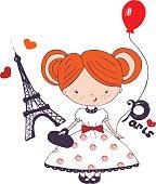 vector hand drawn illustration of ginger girl in paris/ ginger girl/baby girl/ kids'and baby's shirt design