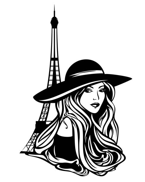 paris fashion frau schwarz vektor porträt - couture stock-grafiken, -clipart, -cartoons und -symbole