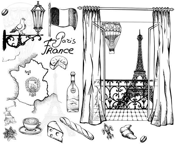 Parisian views vector art illustration