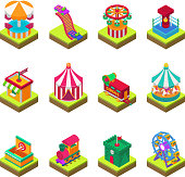 Park amusement attraction park with carousels kid outdoor entertainment construction vector illustration isometric game 3d style isolated