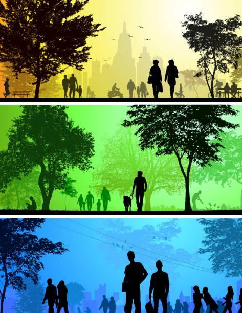 illustrazioni stock, clip art, cartoni animati e icone di tendenza di silhouette città e parco - city walking background