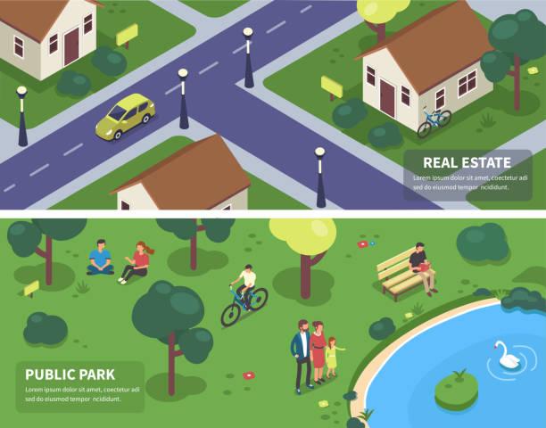 illustrazioni stock, clip art, cartoni animati e icone di tendenza di park and city - city walking background