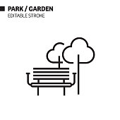 Park and Garden Line Icon, Outline Vector Symbol Illustration. Pixel Perfect, Editable Stroke.