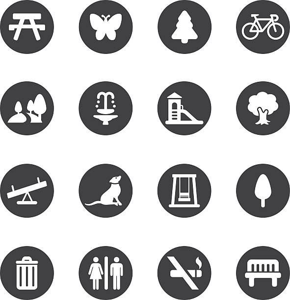 park and outdoor circle silhouette icons | eps10 - recess stock illustrations, clip art, cartoons, & icons