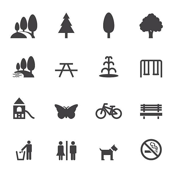 ilustrações, clipart, desenhos animados e ícones de ícones parque e ao ar livre - exterior
