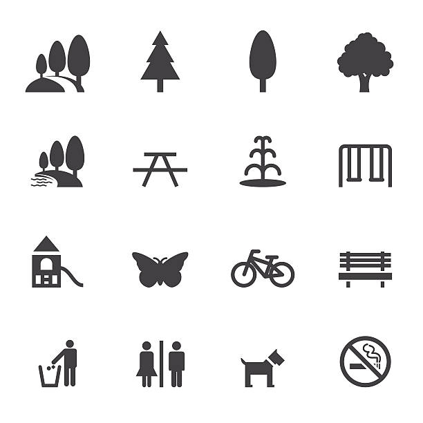 stockillustraties, clipart, cartoons en iconen met park and outdoor icons - openbaar park