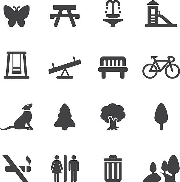 ilustraciones, imágenes clip art, dibujos animados e iconos de stock de parque al aire libre y la silueta de iconos/eps10 - moda de otoño