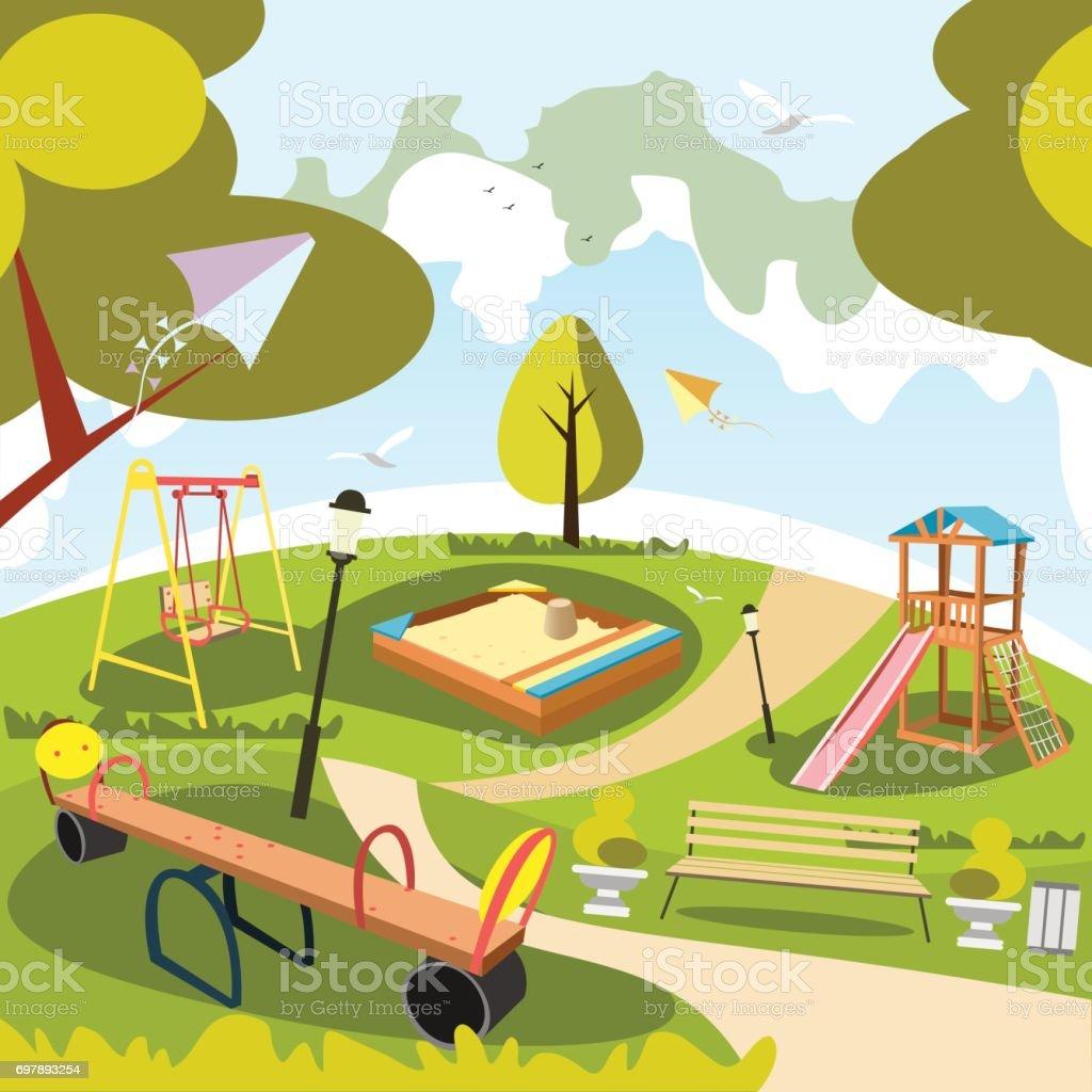 Ilustración de Dibujos Animados De Parque Y Juegos ...