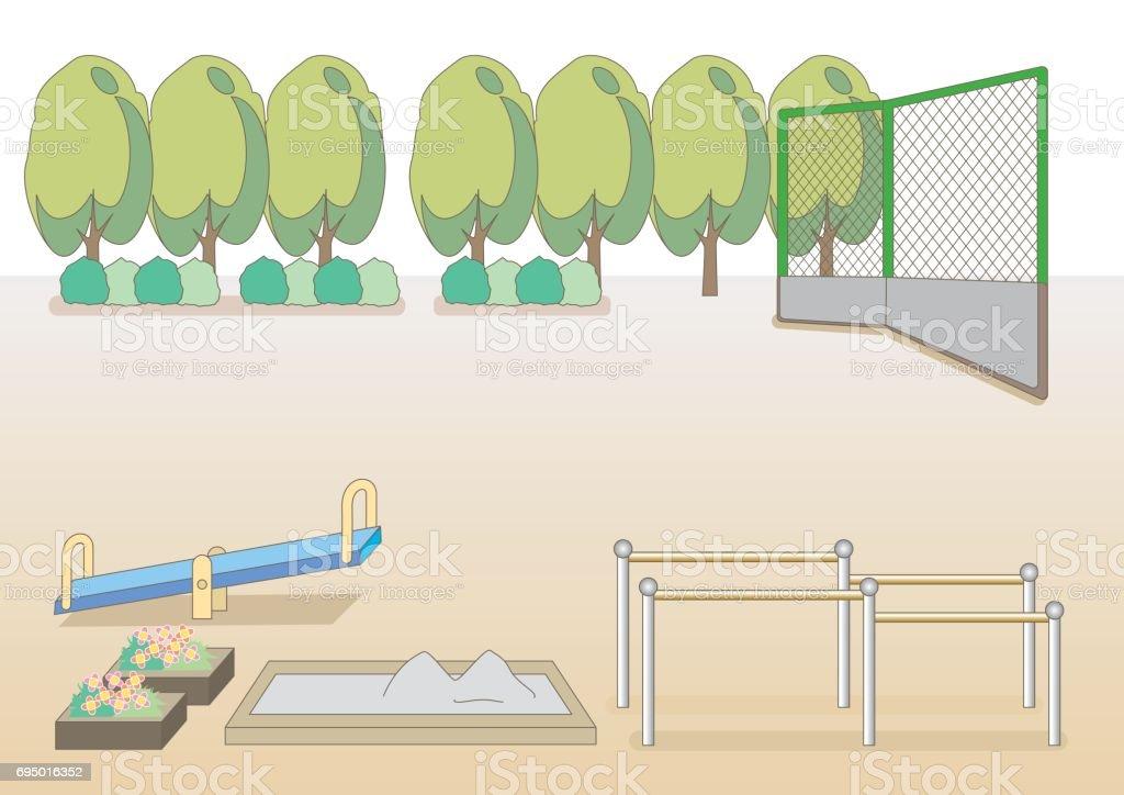 公園や学校のグラウンド イメージ ベクターアートイラスト