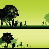 Silhouetted people walking and running through two different park backgrounds.