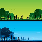 Two park backgrounds with silhouetted people and trees.