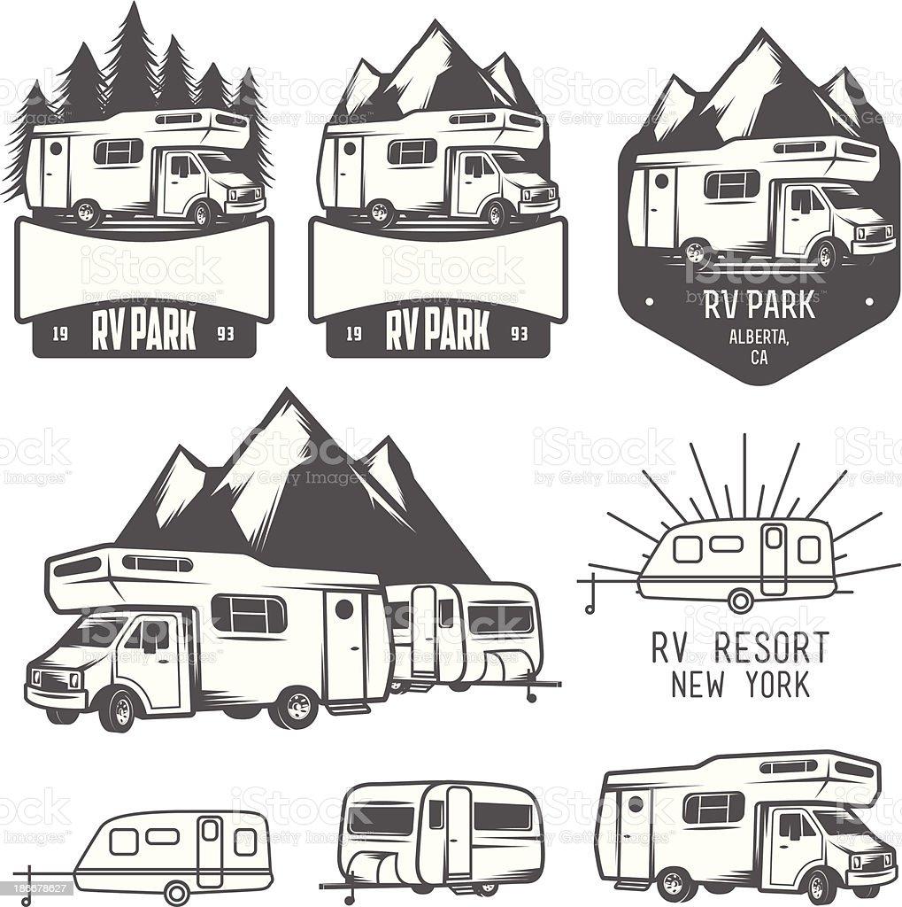 RV park badges and design elements vector art illustration