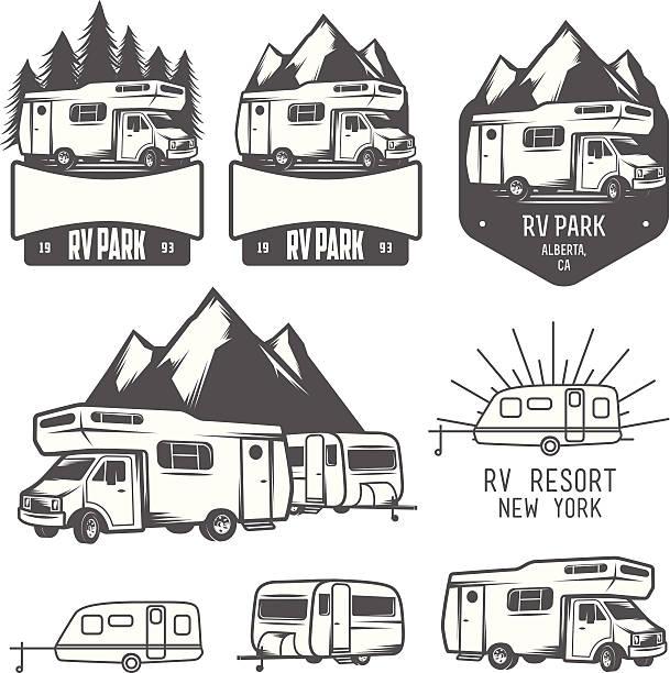 wohnmobil park abzeichen und design-elemente - campinganhänger stock-grafiken, -clipart, -cartoons und -symbole