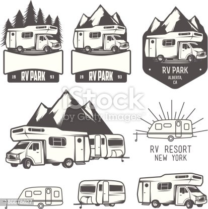 Rv Park Badges And Design Elements Stock Vector Art & More