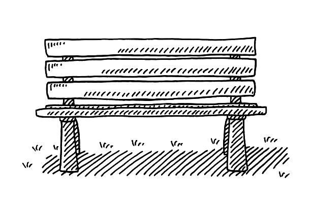 bildbanksillustrationer, clip art samt tecknat material och ikoner med park bench drawing - bench