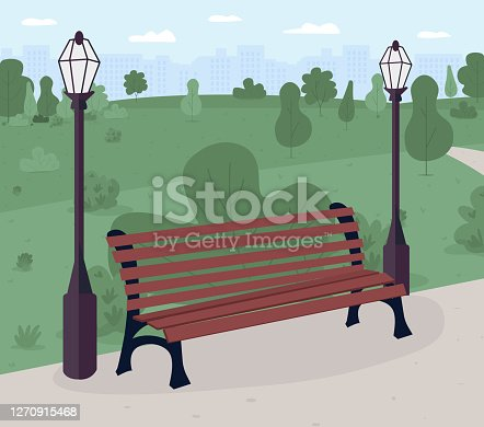 Park bench flat color vector illustration. Public place. Relaxation. Park and recreation ground. Urban scenery. Sunny day outside. 2D cartoon landscape with green scenery on background