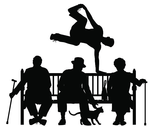 Park bench parkour vector art illustration