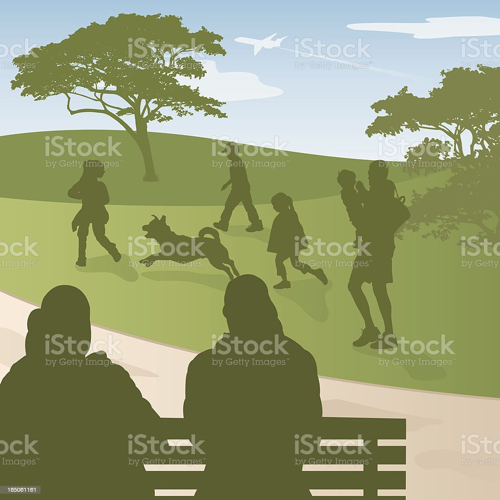 Park Bench Scene royalty-free stock vector art