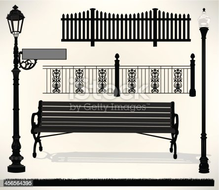 Park Bench Setting illustrations. Street Sign, Street Light, two Fences and Grass. Drop in your own name. Step and repeat fences. Check out my