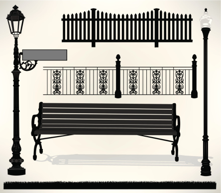 Park Bench Setting - Street Sign, Light, Fence