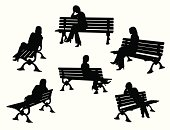 Park Bench Variety Vector Silhouette