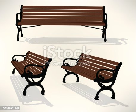 Park Bench. Graphic illustrations of a park bench. Three views. Check out my