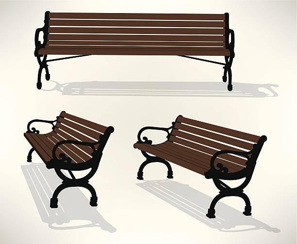 bildbanksillustrationer, clip art samt tecknat material och ikoner med park bench - bench
