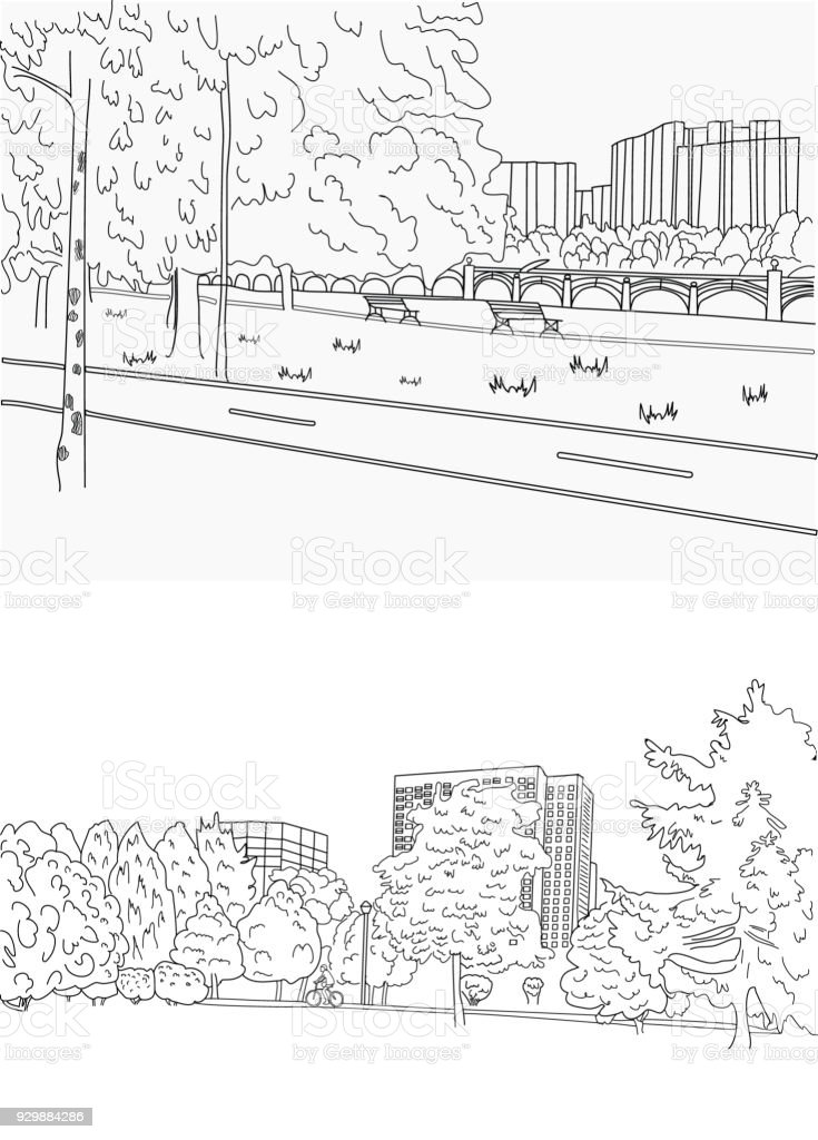 Park bike path and riding a bicycle graphic black white landscape line drawing vector art illustration