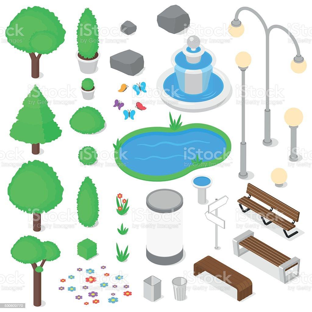 Park elements set. vector art illustration