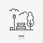 Park flat line icon. Vector thin sign of bench, tree, sky and street light, urban public place logo. City infrastructure illustration.
