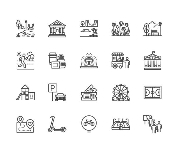 park flat line icons set. botanical garden, carousel, ferris wheel, museum, excursion, pond, street food, fountain vector illustrations. thin signs for outdoors. pixel perfect 64x64 editable strokes - небольшой город stock illustrations