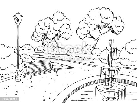 Park Fountain Graphic Black White Landscape Sketch