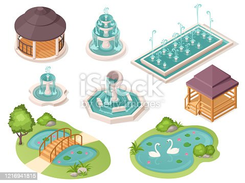 Park fountains, garden ponds and gazebo pavilions, vector isolated isometric constructor elements. Public park and city garden landscape architecture, bridge over ponds with swans and wooden pavilions