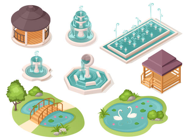 park fountains, garden ponds and gazebo pavilions, vector isolated isometric constructor elements. public park and city garden landscape architecture, bridge over ponds with swans and wooden pavilions - staw woda stojąca stock illustrations