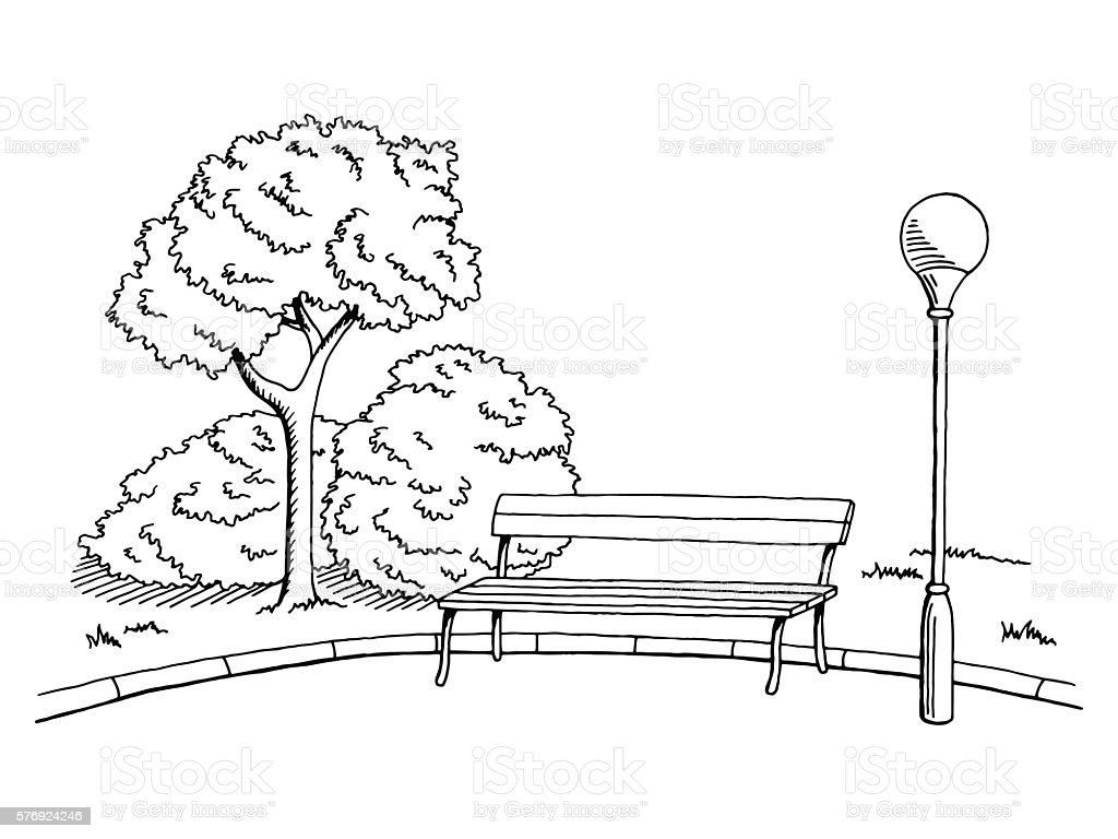 Astonishing Park Graphic Black White Bench Lamp Landscape Sketch Squirreltailoven Fun Painted Chair Ideas Images Squirreltailovenorg