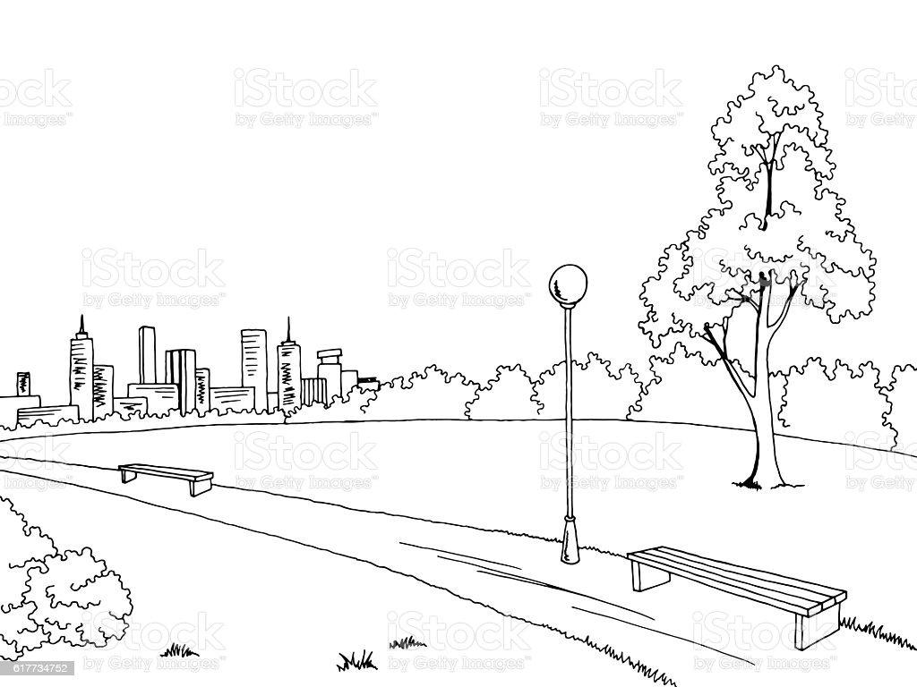 Park graphic black white bench lamp landscape sketch illustration vector vector art illustration